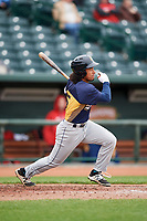 Burlington Bees center fielder Jahmai Jones (15) at bat during a game against the Great Lakes Loons on May 4, 2017 at Dow Diamond in Midland, Michigan.  Great Lakes defeated Burlington 2-1.  (Mike Janes/Four Seam Images)