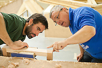 Ex-Royal Marine retraining to work in construction making a window frame.   Able Skills in Dartford, Kent, runs courses in construction industry skills like, bricklaying, carpentry and tiling.