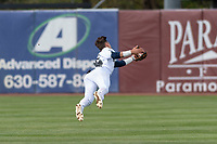 Kane County Cougars shortstop Blaze Alexander (5) makes a diving catch during a Midwest League game against the Cedar Rapids Kernels at Northwestern Medicine Field on April 28, 2019 in Geneva, Illinois. Kane County defeated Cedar Rapids 3-2 in game one of a doubleheader. (Zachary Lucy/Four Seam Images)