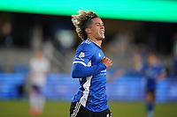 SAN JOSE, CA - MAY 1: Cade Cowell #44 of the San Jose Earthquakes celebrates scoring during a game between D.C. United and San Jose Earthquakes at PayPal Park on May 1, 2021 in San Jose, California.