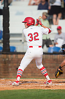 Hunter Newman (32) of the Johnson City Cardinals at bat against the Bristol Pirates at Howard Johnson Field at Cardinal Park on July 6, 2015 in Johnson City, Tennessee.  The Pirates defeated the Cardinals 2-0 in game one of a double-header. (Brian Westerholt/Four Seam Images)