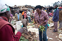 Entreprenuer Mary Cherop Maritim still shops at the market in Kangemi slum where she started her business packaging pre-cooked then frozen, Kenyan staples.