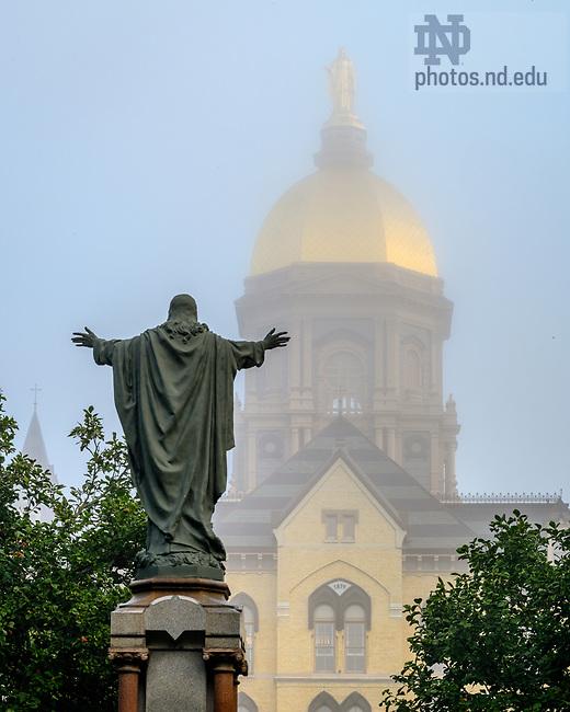 October 13, 2021; Main Quad on a foggy morning, fall 2021 (Photo by Matt Cashore/University of Notre Dame)