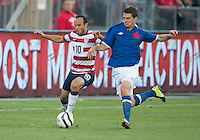 03 June 2012: US Men's National Soccer Team forward Landon Donovan forward #10 and Canadian Men's National Soccer Team midfielder Will Johnson #8 in action during an international friendly  match between the United States Men's National Soccer Team and the Canadian Men's National Soccer Team at BMO Field in Toronto..The game ended in 0-0 draw..