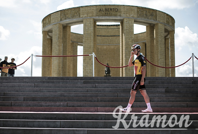Belgian National Champion Yves Lampaert (BEL/Quick Step Floors) at the pre race Team Presentation with the World War I memorial, King Albert I monument, in the background. <br /> <br /> <br /> 1st Great War Remembrance Race 2018 (UCI Europe Tour Cat. 1.1) <br /> Nieuwpoort > Ieper (BE) 192.7 km