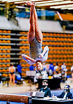 February 19, 2021: North Carolina's Hallie Thompson competes on the beam during the 2nd Annual George McGinty Alumni Meet at the SECU Arena at Towson University in Towson, Maryland. Scott Serio/Eclipse Sportswire/CSM