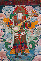 Bodhnath, Nepal.  Wall Decoration inside the Tsamchen Gompa (Tibetan Buddhist Monastery).