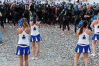 Pom-pom girls cheer on triathletes at the start of Ironman France 2012, Nice, France, 24 June 2012