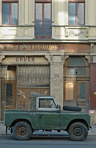 Historic 1960's Land Rover Series 2a in Dresden, Germany 2005. --- No releases available. Automotive trademarks are the property of the trademark holder, authorization may be needed for some uses.