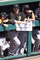 Pittsburgh Pirates Todd Frazier (99) and assistant hitting coach Christian Marrero (88) during a Major League Spring Training game against the Baltimore Orioles on February 28, 2021 at Ed Smith Stadium in Sarasota, Florida.  (Mike Janes/Four Seam Images)
