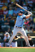 Tampa Bay Rays left fielder Shane Peterson (65) at bat during a Spring Training game against the Pittsburgh Pirates on March 10, 2017 at LECOM Park in Bradenton, Florida.  Pittsburgh defeated New York 4-1.  (Mike Janes/Four Seam Images)