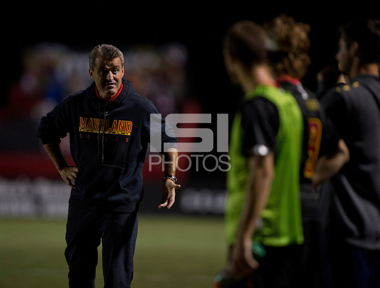 Maryland head coach Sasho Cirovski talks to his bench during the game at Ludwig Field on the campus of the University of Maryland in College Park, MD.  Maryland defeated Pittsburgh, 2-0.