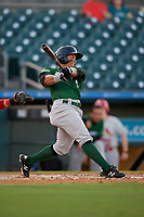 Daytona Tortugas second baseman Randy Ventura (1) bats during a Florida State League game against the Palm Beach Cardinals on April 11, 2019 at Roger Dean Stadium in Jupiter, Florida.  Palm Beach defeated Daytona 6-0.  (Mike Janes/Four Seam Images)