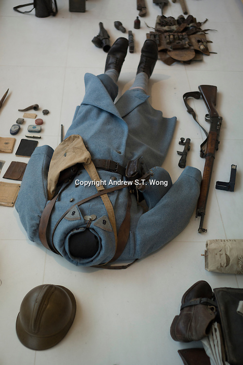The uniforms and equipment of a French soldier of World War I are on display at L'Historial de la Grande Guerre in Peronne, La Somme, France, August 17, 2014, 2014 marks 100th anniversary of the Great War.