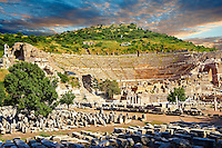 The Theatre of Ephesus on the slopes of Panayir Dagi ( mount) was built during the reign of Alexander the Great successor, Lysimachos, between 306 - 281 B.C. The building was altered many times by the time St Paul was famously found guilty of preaching against Artemis & Diana and banished from the city after a 3 year stay.  Ephesus Archaeological Site, Anatolia, Turkey.
