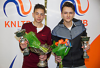 March 8, 2015, Netherlands, Rotterdam, TC Victoria, NOJK, Winner boys 16 years Amadatus Admiraal and runner up Wisse Jonker (R)<br /> Photo: Tennisimages/Henk Koster