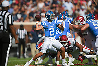 Ole Miss quarterback Matt Corral (2) passes, Saturday, October 9, 2021 during the first quarter of a football game at Vaught Hemingway Stadium in Oxford, Miss. Check out nwaonline.com/211010Daily/ for today's photo gallery. <br /> (NWA Democrat-Gazette/Charlie Kaijo)