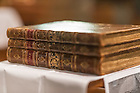 Jul. 14, 2014; Three volume bible once owned by Rev. Stephen Badin.<br /> <br /> Photo by Matt Cashore/University of Notre Dame
