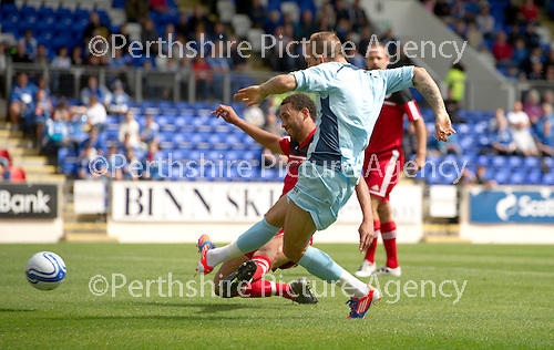 St Johnstone v Bristol City....28.07.12  Pre-Season Friendly.Trialist Rowan Vine scores the first goal.Picture by Graeme Hart..Copyright Perthshire Picture Agency.Tel: 01738 623350  Mobile: 07990 594431
