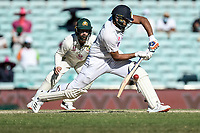 10th January 2021; Sydney Cricket Ground, Sydney, New South Wales, Australia; International Test Cricket, Third Test Day Four, Australia versus India; Rohit Sharma of India plays a shot as Matthew Wade of Australia waits for a catching opportunity