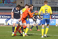 3rd April 2021; Dens Park, Dundee, Scotland; Scottish FA Cup Football, Dundee FC versus St Johnstone; St Johnstone goalkeeper ZanderClark clutches the ball under pressure from Danny Mullen of Dundee