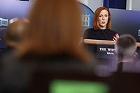 White House Press Secretary Jen Psaki talks to reporters during the daily press briefing in the Brady Press Briefing Room of the White House on Monday, March 1, 2021 in Washington, DC. <br /> Credit: Oliver Contreras / Pool via CNP /MediaPunch