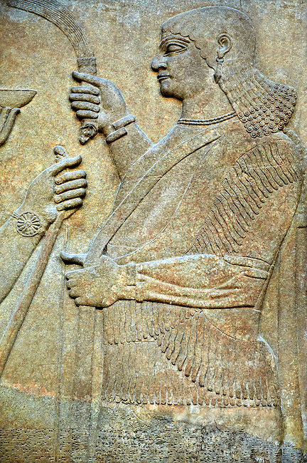 Assyrian relief sculpture panel  from Nimrud, Iraq.  865-860 B.C North West Palace.  British Museum Assyrian  Archaeological exhibit.