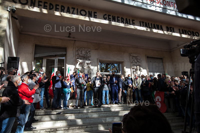 """Maurizio Landini (General Secretary of CGIL, Italian General Confederation of Labour).<br /> <br /> Rome, Italy. 10th October, 2021. Today, thousands of people gathered outside the CGIL (CGIL Confederazione Generale Italiana del Lavoro, Italian General Confederation of Labour, Italian biggest Trade Union) HQ in Corso d'Italia in Rome to attend the Trade Union emergency General Assembly called after the vile attack perpetrated yesterday against the CGIL HQ by the fascist organization forza nuova (for a previous demo: 2.), members of no vax, no pass, no green pass, football supporters, conspiracy theorists, far-right extremists, Covid-19 deniers (negazionisti). The General Secretary of the CGIL, Maurizio Landini, in his today speech stated that what happened yesterday was a """"fascist and squad action"""" against the Workers, the founding values of the Italian Democratic Republic, the principles enshrined in the Constitution born of anti-fascism, the Resistance and the Liberation Struggle. He added that the fascist organizations (Illegal in Italy) need to be immediately dismatled, that this kind of despicable actions against Democracy cannot be tolerated, calling for a national Antifascists demonstration on the 16th October 2021 in Rome.<br /> <br /> Footnotes & Links:<br /> 1. http://cgil.it/ & https://bit.ly/2E1Al5a (Wikipedia)<br /> 2. 24.07.21 - No Green Pass Demo - Far-right, NoGreenPass, NoVax, Covid19 Deniers, Conspiracy Theorists https://lucaneve.photoshelter.com/gallery/24-07-21-No-Green-Pass-Demo-Far-right-NoGreenPass-NoVax-Covid19-Deniers-Conspiracy-Theorists/G0000m5VttrwCq6A/C0000GPpTqAGd2Gg"""