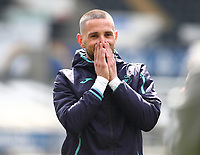 1st May 2021; Liberty Stadium, Swansea, Glamorgan, Wales; English Football League Championship Football, Swansea City versus Derby County; Conor Hourihane of Swansea City reacts during warm up