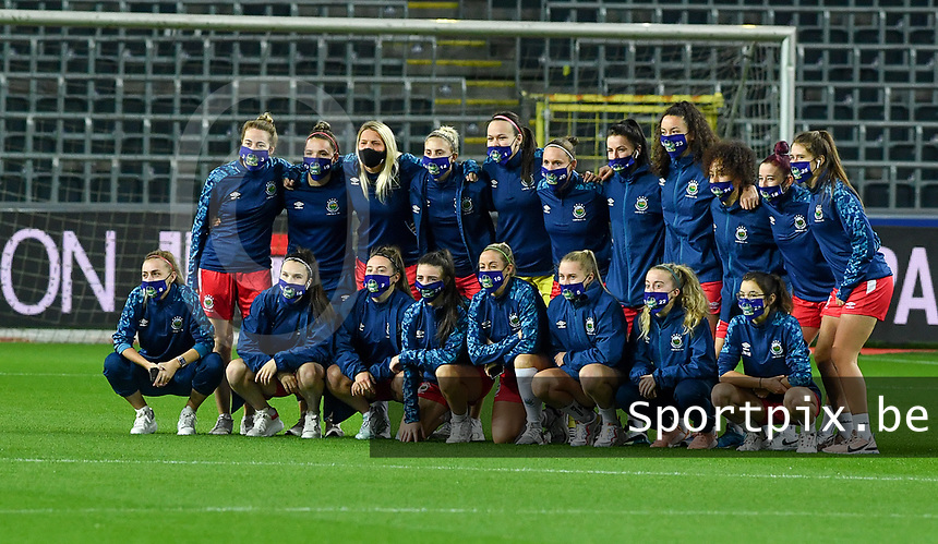 Linfield Ladies team pictured before a female soccer game between RSC Anderlecht Dames and Northern Irish Linfield Ladies  in the first qualifying round for the Uefa Womens Champions League of the 2020 - 2021 season , Wednesday 4 th of November 2020  in ANDERLECHT , Belgium . PHOTO SPORTPIX.BE | SPP | DAVID CATRY