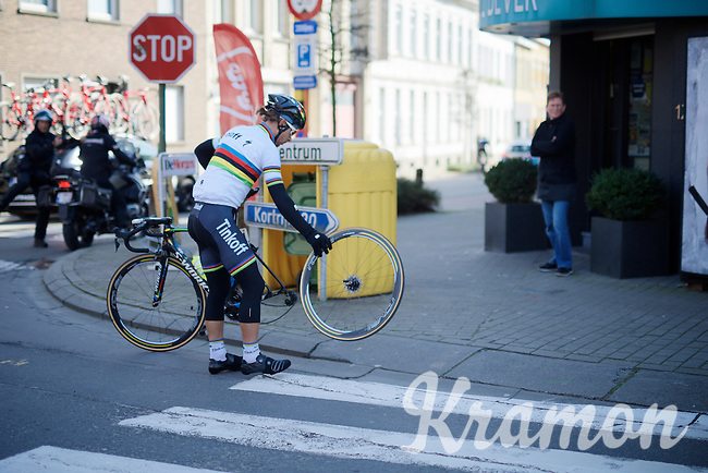 Peter Sagan (SVK/Tinkoff) suffering from a flay rear @ getting his wheel out himself before the arrival of the team car<br /> <br /> Kuurne-Brussel-Kuurne 2016