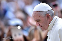 Pope Francis during of a weekly general audience at St Peter's square in Vatican. on August 31, 2016