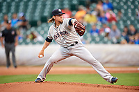 Colorado Springs Sky Sox starting pitcher Michael Blazek (14) delivers a pitch during a game against the Oklahoma City Dodgers on June 2, 2017 at Chickasaw Bricktown Ballpark in Oklahoma City, Oklahoma.  Colorado Springs defeated Oklahoma City 1-0 in ten innings.  (Mike Janes/Four Seam Images)