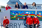The mural at Booleenshare NS in Ballyheigue. Front l to r: Luke Boyle, George and Sam Keane. Back l to r: Jennifer Boyle, John Keane, Terrance Dineen and Lisa Harken.