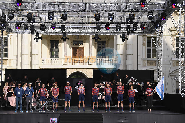 Israel Start-up Nation on stage at team presentation of the 2021 Giro d'Italia inside the Cortile d'Onore of the Castello del Valentino, on the occasion of the 160th anniversary of the Unification of Italy, Turin, Italy. 6th May 2021.  <br /> Picture: LaPresse/Fabio Ferrari   Cyclefile<br /> <br /> All photos usage must carry mandatory copyright credit (© Cyclefile   LaPresse/Fabio Ferrari)