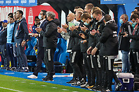 Head coach Jacky Mathijssen of Belgium and his staff pictured after the national anthem, before a soccer game between the national teams Under21 Youth teams of Belgium and Kazakhstan on the third matday in group I for the qualification for the Under 21 EURO 2023 , on friday 8 th of october 2021  in Leuven , Belgium . PHOTO SPORTPIX | SEVIL OKTEM