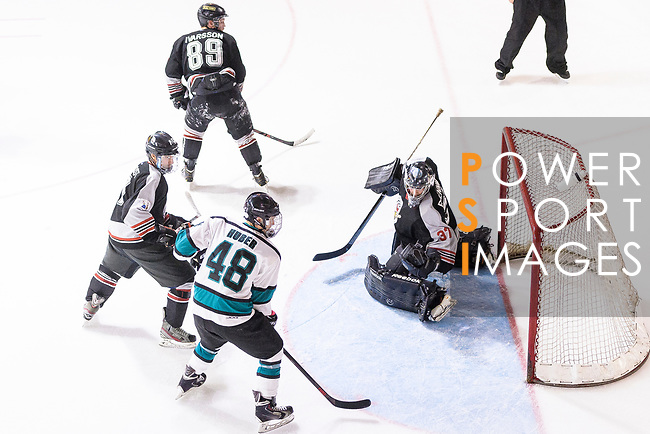 Charlie Huber of Cathay Flyers (L) battle in the goal mouth with Jimmy Bjennmyr of Nordic Vikings Goalie (R) during the Mega Ice Hockey 5s International Elite Final match between Nordic Vikings and Cathay Flyers on May 05, 2018 in Hong Kong, Hong Kong. Photo by Marcio Rodrigo Machado / Power Sport Images