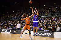 Taane Samuel of the Wellington Saints shoots the ball during the round two NBL match between the Wellington Saints and the Southland Sharks at TSB Bank Arena, Wellington, New Zealand on Friday 7 May 2021.<br /> Photo by Masanori Udagawa. <br /> www.photowellington.photoshelter.com