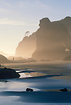 Man beachcombing, Shi Shi Beach, Olympic National Park, Sea stacks, Point of the Arches, Washington State, Pacific Northwest, Pacific Ocean, USA, Point of Arches was originally purchased for preservation by The Nature Conservancy,