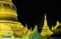 The Shwedagon Pagoda at night Yangon, Myanmar, Burma,