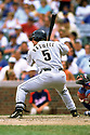 CHICAGO - CIRCA 1999:  Jeff Bagwell #5 of the Houston Astros bats during an MLB game at Wrigley Field in Chicago, Illinois. Bagwell played for 15 seasons, all with the Houston Astros, was a 4-time All-Star and was inducted to the Baseball Hall of Fame in 2017.(David Durochik / SportPics) --Jeff Bagwell