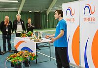 March 15, 2015, Netherlands, Rotterdam, TC Victoria, NOJK, Winner boys 18 years Guy den Heijer with his winners speech<br /> Photo: Tennisimages/Henk Koster
