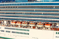 Ft. Lauderdale, Florida.  Cruise Ship Ruby Princess in Early Morning Sun, Showing Life Boats along the Side.