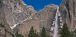 Yosemite National Park, CA<br /> A dusting of snow on granite cliffs and the Upper Yosemite Fall under blue skies