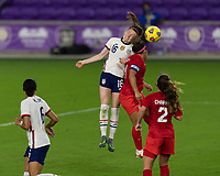 ORLANDO CITY, FL - FEBRUARY 18: Rose Lavelle #16 battles for a header during a game between Canada and USWNT at Exploria stadium on February 18, 2021 in Orlando City, Florida.