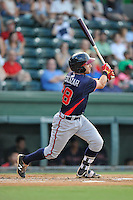Second baseman Alejandro Salazar (7) of the Rome Braves bats in a game against the Greenville Drive on Tuesday, August 30, 2016, at Fluor Field at the West End in Greenville, South Carolina. Greenville won, 7-3. (Tom Priddy/Four Seam Images)