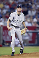 Jeff Weaver of the New York Yankees pitches during a 2002 MLB season game against the Los Angeles Angels at Angel Stadium, in Anaheim, California. (Larry Goren/Four Seam Images)
