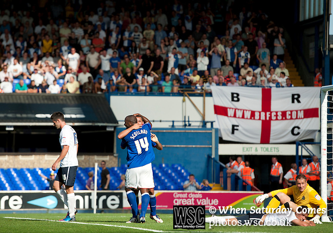 Ipswich Town 1 Blackburn Rovers 1, 18/08/2012. Portman Road, Championship. Blackburn visit Suffolk for their first game back in the Championship. Ipswich celebrate their equaliser. Own goal from Jason Lowe. Photo by Simon Gill.