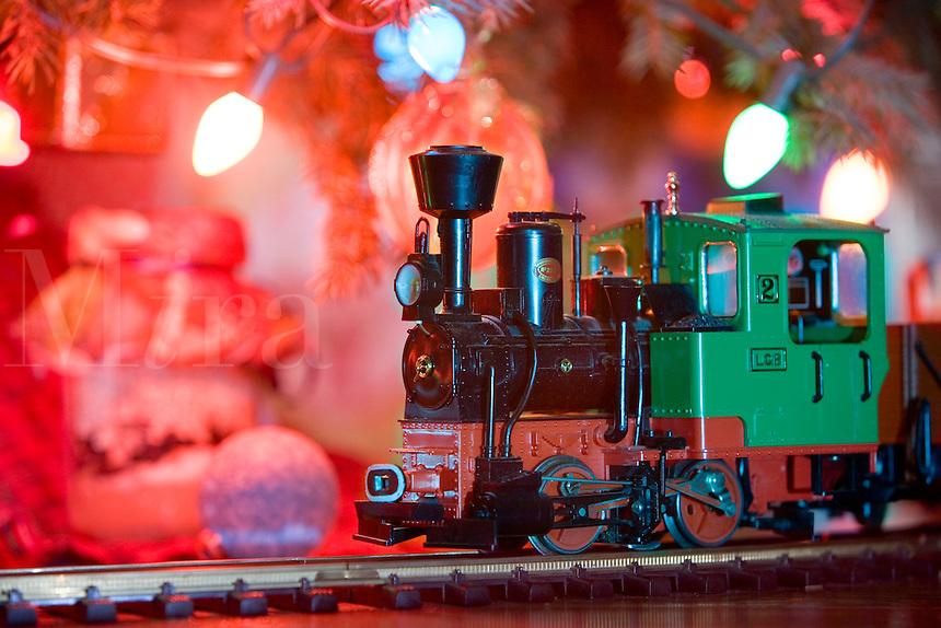 Train around a Christmas Tree.