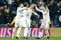 Real Madrid's Theo Hernandez, Cristiano Ronaldo, Sergio Ramos and Mateo Kovacic celebrate goal during Champions League Group H match 6. December 6,2017.  *** Local Caption *** © pixathlon<br /> Contact: +49-40-22 63 02 60 , info@pixathlon.de